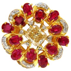 3.44 Carat Natural Fancy Yellow Brown Diamond Ruby Cocktail Cluster Ring
