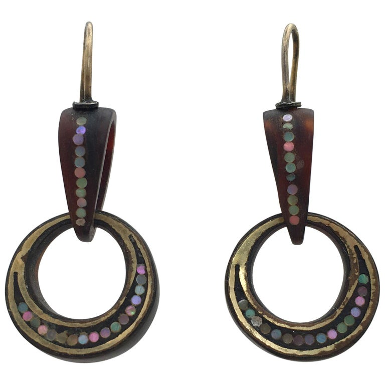 Antique Pique Drop Earrings Tortoiseshell Mother-of-Pearl Crescent Moon Hoops