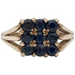 Gold Vintage Jewelry Sapphire Gemstone Square Cluster Ring 1970s Dark Blue