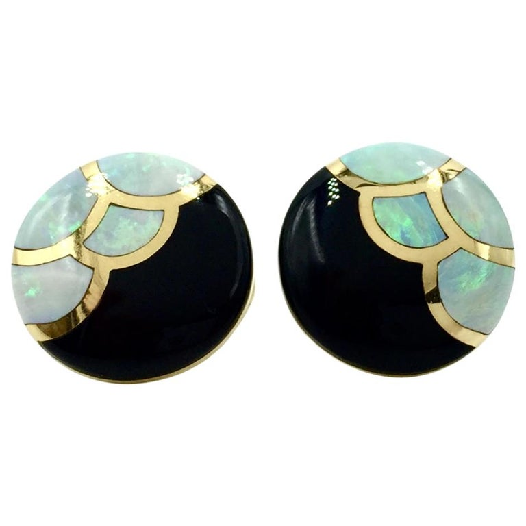 Asch Grossbardt Onyx and Opal Inlay Yellow Gold Button Earrings