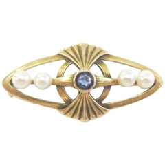 Vintage Sapphire and Pearl Bar Pin / 14 Karat Yellow Gold