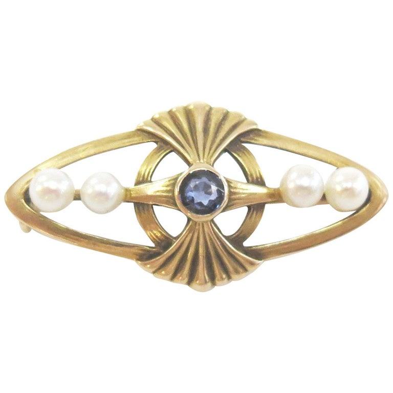 Vintage Sapphire and Pearl Bar Pin / 14 Karat Yellow Gold