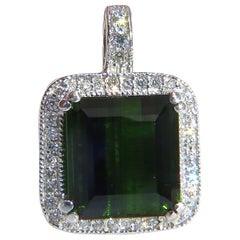 14.17 Carat GIA Vivid Lush Forest Green Tourmaline Diamonds Halo Pendant