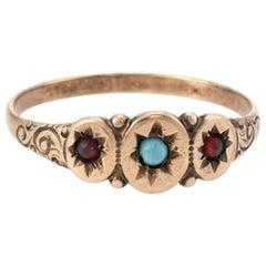 Antique Victorian Turquoise Garnet Signet Ring Vintage 10 Karat Rose Gold