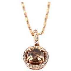 0.45 Carat Chocolate Diamond 14 Karat Rose Gold Halo Necklace