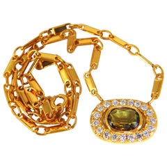 2.70 Carat Natural Orange Brown Sapphire Diamonds Necklace 18 Karat
