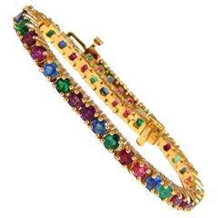 12 Carat Natural Ruby Emerald Sapphire Tennis Bracelet 14 Karat Gem Line