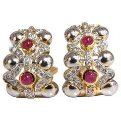2.00 Carat Natural Ruby Diamonds Semi Hoop Clip Earrings 14 Karat