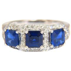 2.40Ct Natural Blue Sapphire Diamonds Ring 14Kt Classic Three Emerald Cuts
