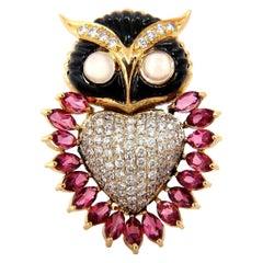 3.90CT Natural Tourmaline Diamonds Moonstone Black Onyx 3D Owl Brooch Pin 18KT