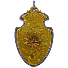 Diamond Gold Compact Locket Pedant Art Nouveau French with Mirror