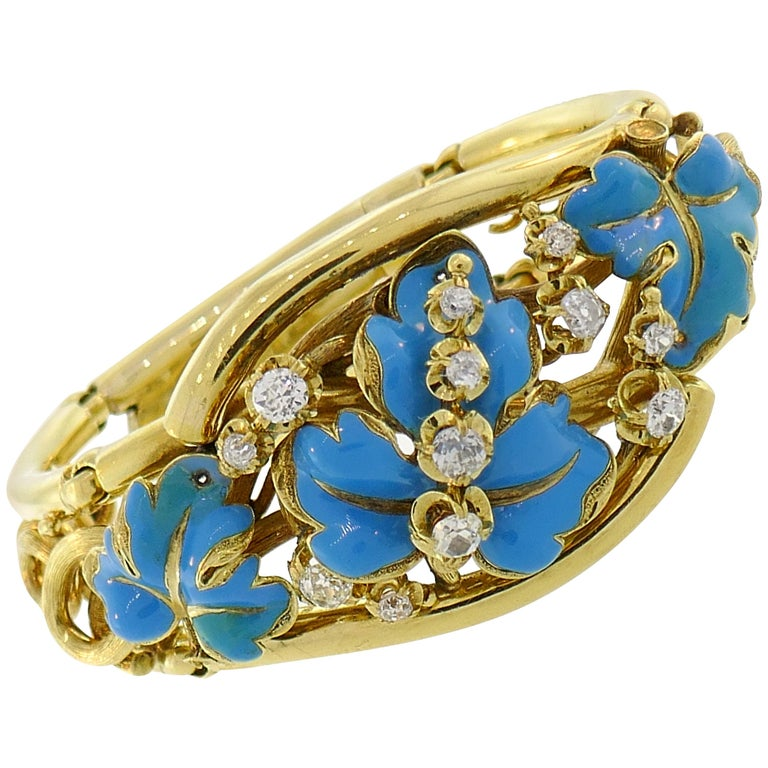Diamond Enamel Yellow Gold Bangle Bracelet French Victorian Antique