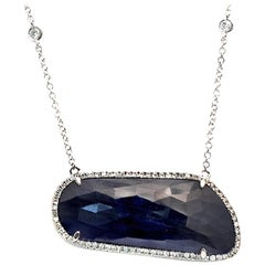 Rose Cut Sliced 26 Ct Blue Sapphire 0.50 Ct Diamonds 14k White Gold Necklace