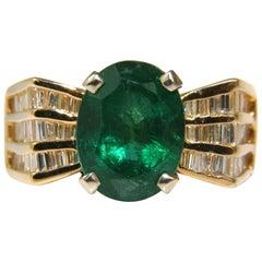 Natural 6.10 Carat Natural Emerald Diamond Ring Mod Deco Three-Row Baguettes A+
