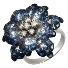 18k Gold 0.37 Ct Diamonds & Invisible 13.90 Ct Blue Sapphire Flower Ring