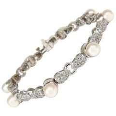 2.70 Carat Diamonds and Luster Akoya Pearl Petal Link Tennis Bracelet 14 Karat