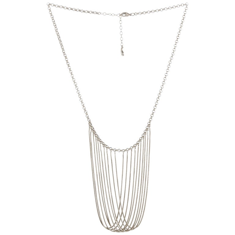 Statement Multi Snake Chain Silver Plated Brass Greek Necklace