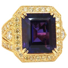 11.09 Carat Natural Amethyst Yellow Diamond Ring 14 Karat
