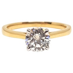 18 Karat Yellow White Gold Diamond Engagement Bridal Wedding Ring 1.00 Carat