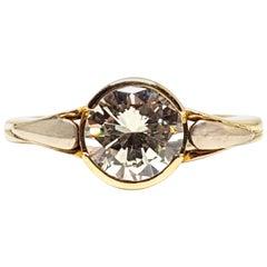 Vintage 18 Karat Yellow White Gold Diamond Engagement Wedding Ring 1.90 Carat