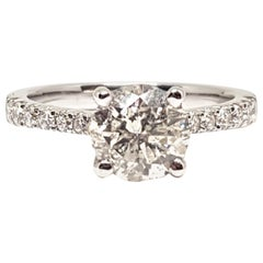 18 Karat White Gold Diamond Ladies Engagement Bridal Band Ring 1.89 Carat
