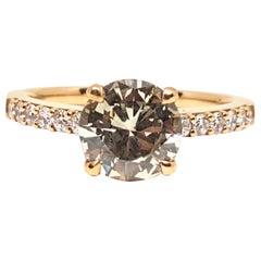 18 Karat Pink Gold Natural Fancy Light Yellow Diamond Engagement Bridal Ring