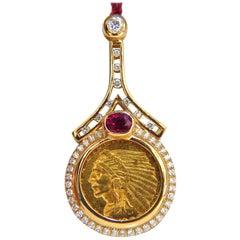 1909 $2.5 American BLP Coin Pendant Ruby and Diamonds 1.90 Carat