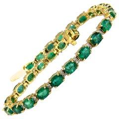 9.30 Carat Green Natural Emerald Diamonds Tennis Bracelet 14 karat G/VS