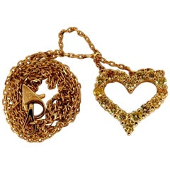 1.00 Carat Natural Fancy Yellow Diamonds Open Heart Necklace 14 Karat