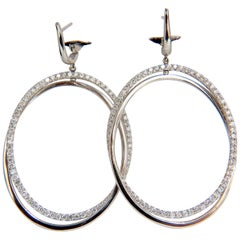 2.50 Carat 3D Rotating Oval Circles Diamond Dangle Earrings 14 Karat Lever Back