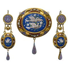 Antique Mid-19th Century Italian Micro Mosaic Gold Set