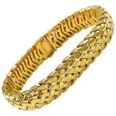 Tiffany & Co. 18 Karat Gold Vannerie Basket Weave Bracelet, circa 1995