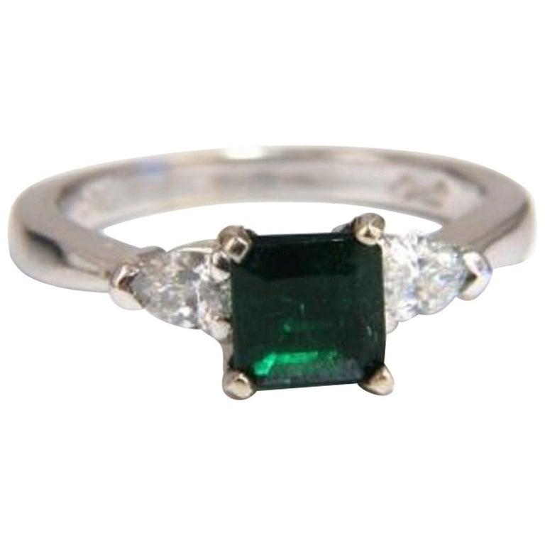 GIA Certified 1.43 Carat Natural Emerald Diamonds Ring 14 Karat