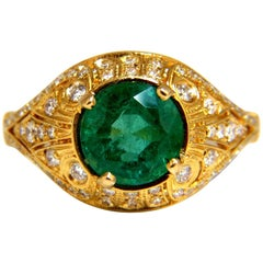 2.92 Carat Natural Round Emerald Diamond Ring 14 Karat Venetian Mod