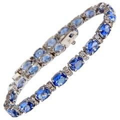 8.70 Carat Natural Tanzanite Diamonds Tennis Bracelet