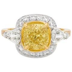 2.51 Carat Cushion Cut Yellow Diamond 18 Carat Yellow and White Gold Ring