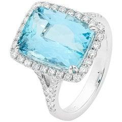 6.50 Carat Cushion Cut Aquamarine Diamond Halo Ring