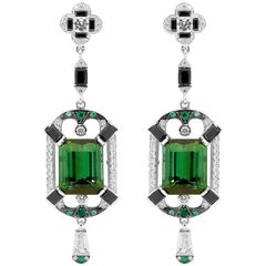 7.44 Carat Green Tourmaline 0.26 Carat Diamond Art Deco Inspired Drop Earrings