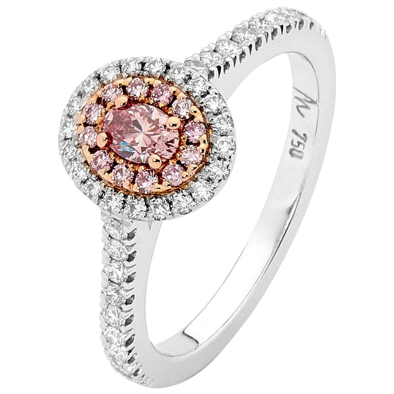 0.20 Carat Argyle Pink Diamond 18 Carat White and Rose Gold Engagement Ring  For Sale
