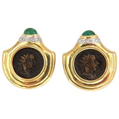 18 Karat 1.80 Carat Natural Emerald Diamond Coin Clip Earrings Byzantine Deco