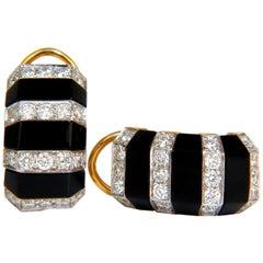 1.76 Carat Diamonds Carved Jet Black Onyx Clip Huggie Earrings 14 Karat G/VS