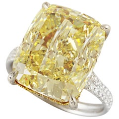 HRD Certified 11.07 Carat Fancy Yellow Cushion Diamond Ring