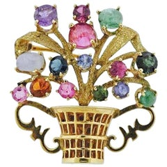 Stunning Retro 1950s Cartier Gemstone 14 Karat Flower Basket Brooch Pin Pendant