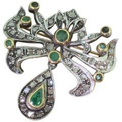 Victorian Emerald and Rose Cut Diamond Brooch, circa 1900