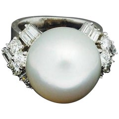 1950s Tiffany & Co. South Sea Pearl 1.80 Carat VVS Diamond Cocktail Ring