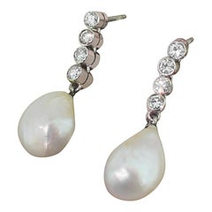Midcentury Natural Saltwater Pearl and Diamond Pendant Earrings