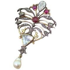 Art Nouveau Diamond, Ruby and Natural Pearl Brooch, circa 1890
