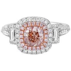 GIA Certified Cushion Cut Fancy Pink Diamond Ring, 2.03 Carat