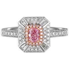GIA Certified Cushion Cut Fancy Pink Diamond Ring, 0.85 Carat