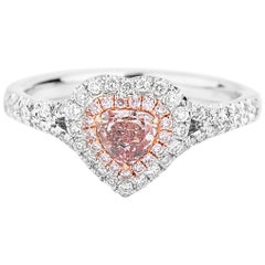 GIA Certified Heart Cut Fancy Pink Diamond Ring, 0.76 Carat